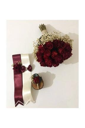 Evsay Gelin Buketi Gelin Eli Çiçeği Damat Yaka Çiçeği Ve Takılık Seti 0