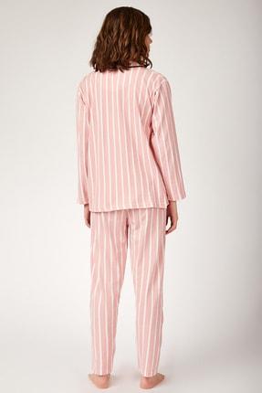 Happiness İst. Kadın Koyu Pembe Çizgili Pamuklu Örme Pijama Takımı GL00001 2