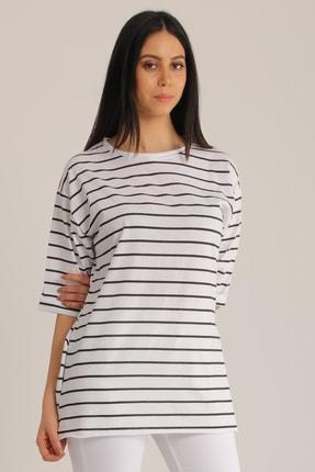MD trend Kadın Siyah & Beyaz Çizgili Kol Katlı T-Shirt Mdt4890 2