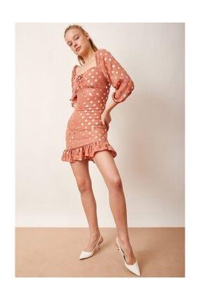 Never more Puantiyeli Mini Elbise Kiremit 1