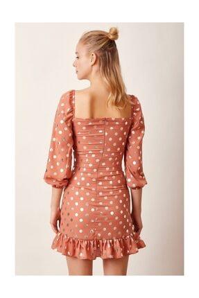 Never more Puantiyeli Mini Elbise Kiremit 4