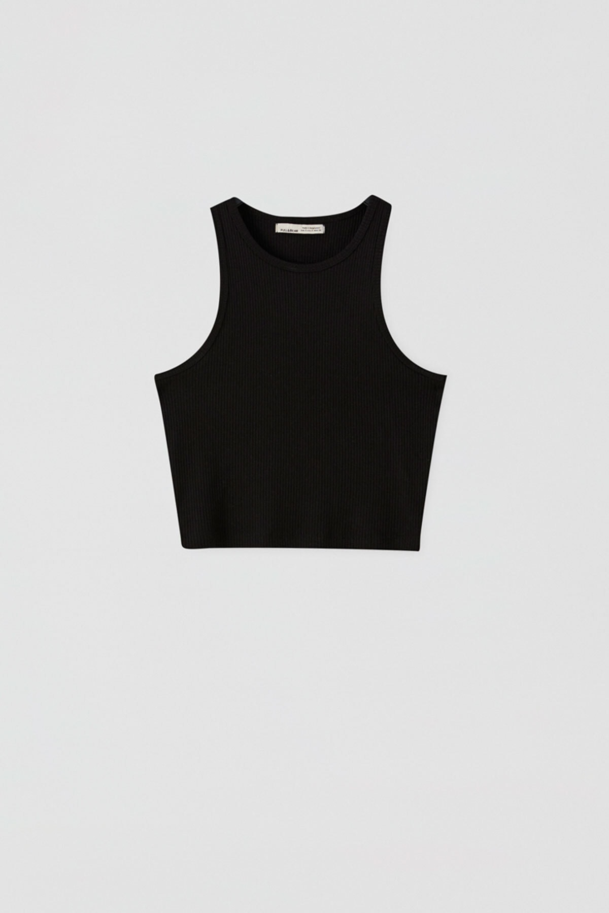 Pull & Bear Kadın Siyah Fitilli Kolsuz Crop Top 05236344 0