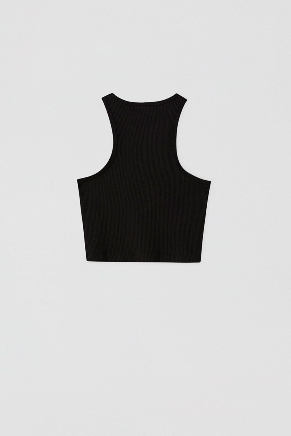 Pull & Bear Kadın Siyah Fitilli Kolsuz Crop Top 05236344 3