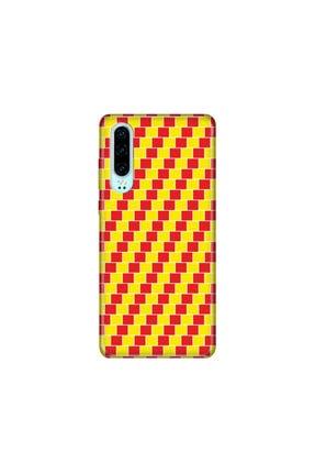 Cekuonline Huawei P30 Kılıf Desenli Resimli Hd Silikon Telefon Kabı Kapak - Sarı Kırmızı 0