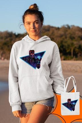 Angemiel Wear Starlord Beyaz Kadın Kapüşonlu Sweatshirt Çanta Kombin 2