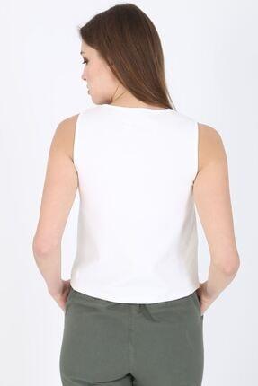 MODOMOR Kadın Dokuma Beyaz Bluz 2