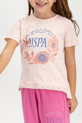 US Polo Assn Lisanslı Açık Pembe Kız Çocuk Kapri Takım 1