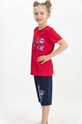 US Polo Assn Lisanslı Kırmızı Kız Çocuk Kapri Takım 2