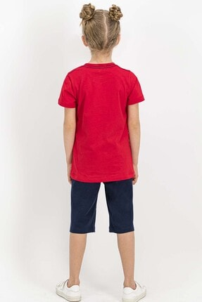 US Polo Assn Lisanslı Kırmızı Kız Çocuk Kapri Takım 3