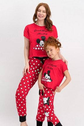 Mickey & Minnie Mouse Kadın Mickey Mouse Lisanslı Kırmızı Pijama Takımı 1