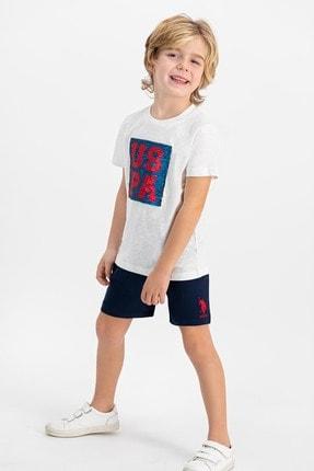 US Polo Assn Lisanslı Krem Erkek Çocuk Şort Takım 0