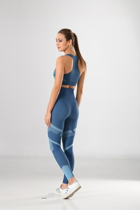 Miss Fit Kadın Sporcu Tayt Fitness Ve Günlük Kullanım Iç Göstermez 34549 Mavi Örme Seamless Dikişsiz Soft 1
