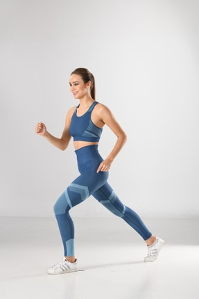 Miss Fit Kadın Sporcu Tayt Fitness Ve Günlük Kullanım Iç Göstermez 34549 Mavi Örme Seamless Dikişsiz Soft 3
