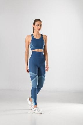 Miss Fit Kadın Sporcu Tayt Fitness Ve Günlük Kullanım Iç Göstermez 34549 Mavi Örme Seamless Dikişsiz Soft 4