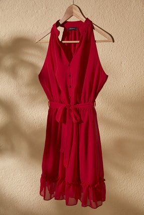 TRENDYOLMİLLA Kırmızı Kuşaklı Elbise TWOSS20EL2259 0