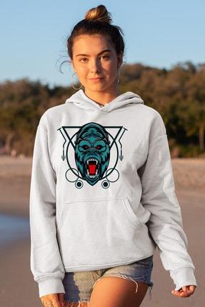 Angemiel Wear Çizgili Baskılı Goril Beyaz Kadın Kapüşonlu Sweatshirt Çanta Kombin 0