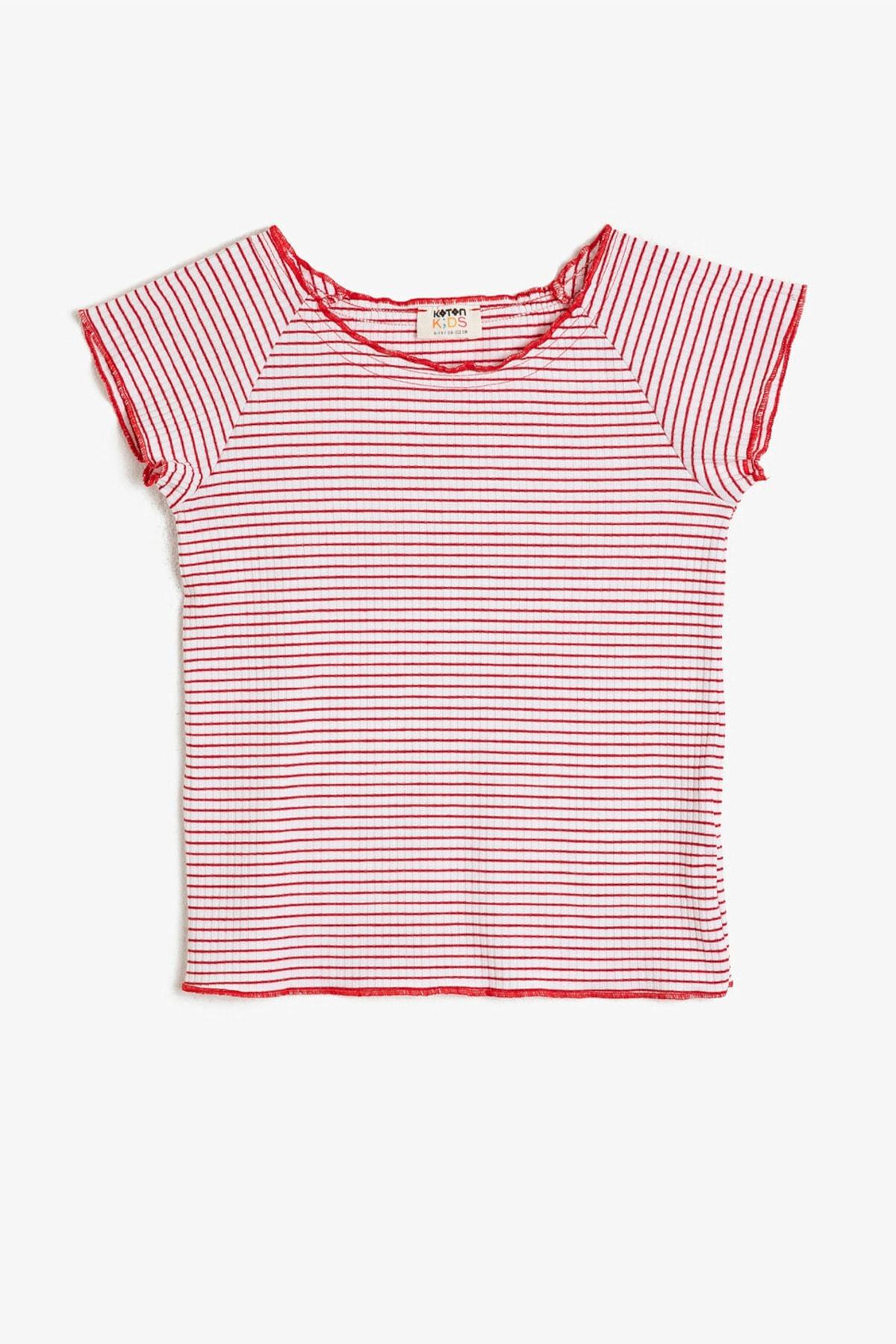 Kırmızı Çizgili Kız Çocuk T-Shirt