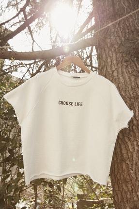 TRENDYOLMİLLA Beyaz %100 Organik Pamuk Crop Örme Sweatshirt TWOSS20SW0206 1