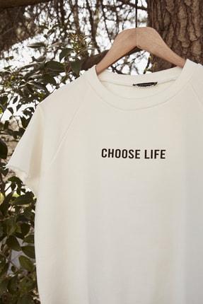 TRENDYOLMİLLA Beyaz %100 Organik Pamuk Crop Örme Sweatshirt TWOSS20SW0206 2