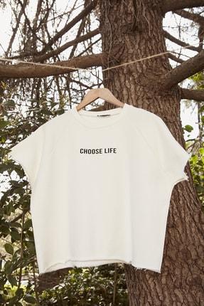 TRENDYOLMİLLA Beyaz %100 Organik Pamuk Crop Örme Sweatshirt TWOSS20SW0206 3