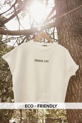TRENDYOLMİLLA Beyaz %100 Organik Pamuk Crop Örme Sweatshirt TWOSS20SW0206 0
