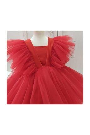 forkids tekstil ve giyim Kırmızı Önü Kısa Arka Uzun Kollar Tül Detaylı 2