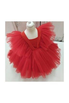 forkids tekstil ve giyim Kırmızı Önü Kısa Arka Uzun Kollar Tül Detaylı 3