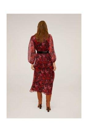 Mango Kadın Kırmızı Çiçekli Midi Boy Elbise 67060605 2
