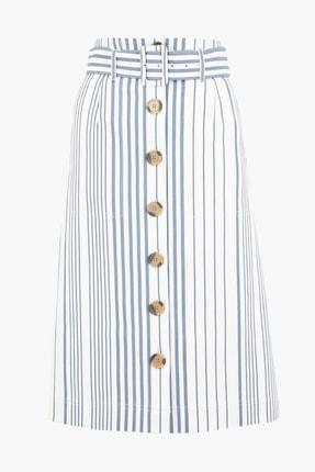 Marks & Spencer Kadın Lacivert Düğmeli Çizgili Etek T59007468 0