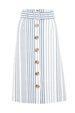 Marks & Spencer Kadın Lacivert Düğmeli Çizgili Etek T59007468 1