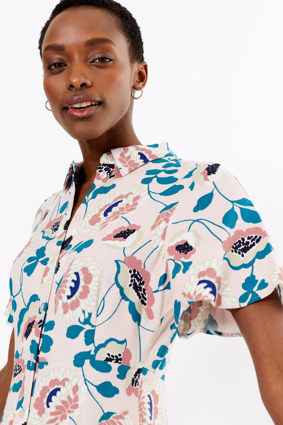 Kadın Pembe Çiçek Desenli Midi Gömlek Elbise T42008361