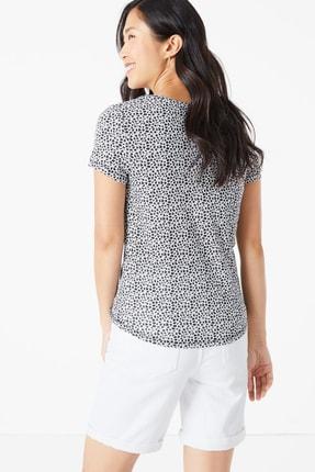 Marks & Spencer Kadın Lacivert Desenli Kısa Kollu T-Shirt T41006285 2