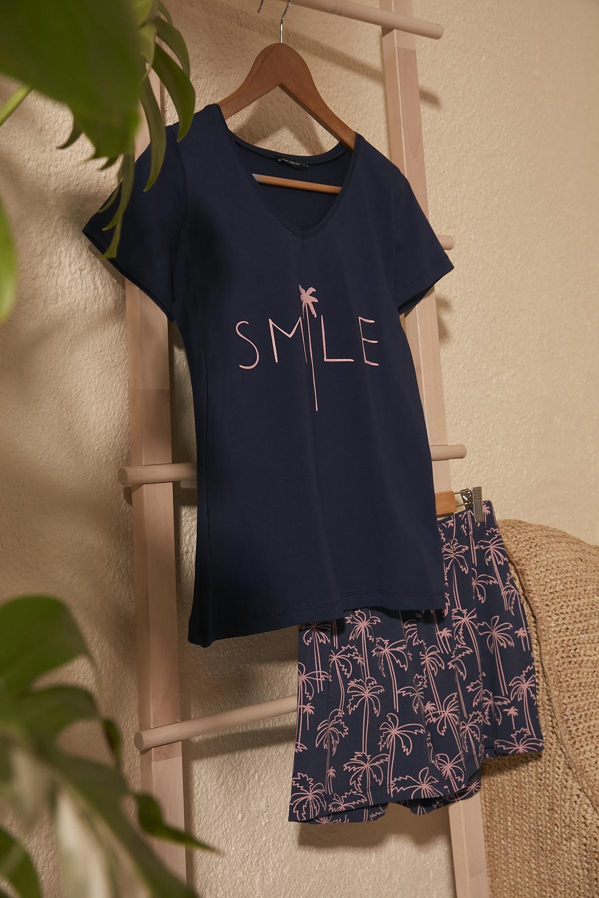 Lacivert Baskılı Örme  Pijama Takımı THMSS20PT0312