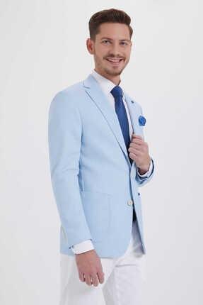 Hatemoğlu Desenli Slim Fit Mavi Ceket 14291018C091 0