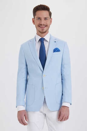Hatemoğlu Desenli Slim Fit Mavi Ceket 14291018C091 2