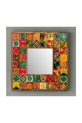 Oscar Stone Decor Ahşap Çerçeveli Taş Ayna 43 X 43 cm Morocco Desen Mozaik Ayna 0
