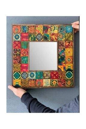 Oscar Stone Decor Ahşap Çerçeveli Taş Ayna 43 X 43 cm Morocco Desen Mozaik Ayna 1