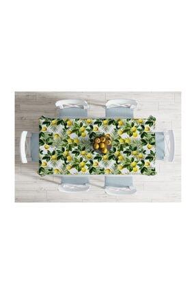 Realhomes Limon Yaprakları Desenli Dijital Baskılı Leke Tutmaz Masa Örtüsü-120x140 Cm 1