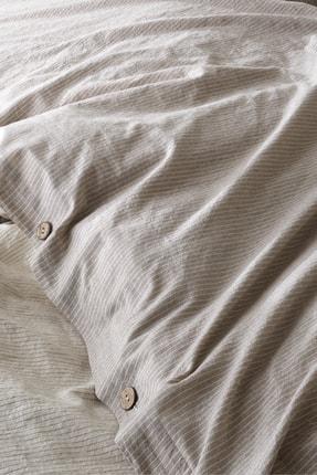 Berolige Cottage %100 Pamuklu Tek Kişilik Yıkamalı İplik Boya Çizgili Nevresim Takımı Kahverengi 0