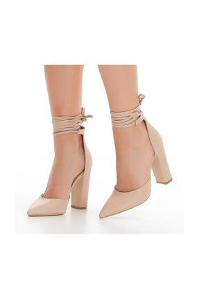 sothe shoes Ten Deri Bayan Topuklu Ayakkabı Stiletto Kalın Topuk Kadın Ayakkabı 0