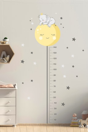 Sim Tasarım Sevimli Filli Boy Ölçer Duvar Sticker Seti 0