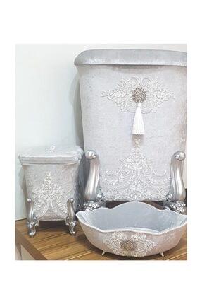 La Perry 3 Parça Banyo Seti, Kadife Kirli Çamaşır Sepeti,çöp Kutusu Ve Havluluk 0
