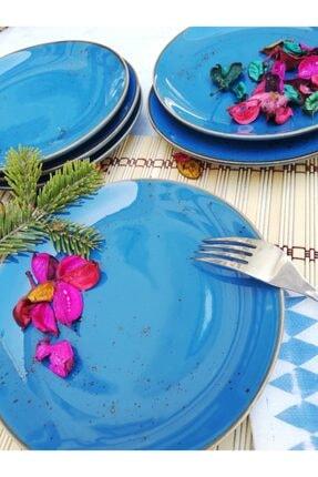 Tulü Porselen Antik Mavi Pasta Tabağı Takımı 0