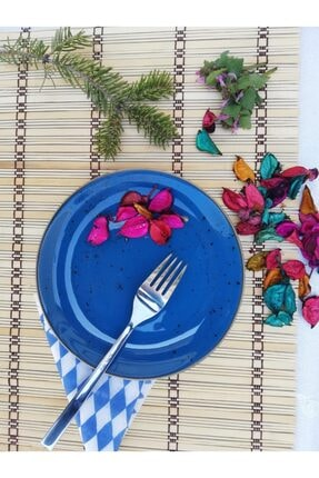 Tulü Porselen Antik Mavi Pasta Tabağı Takımı 4