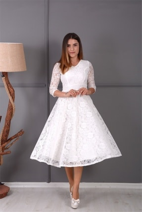 giyimmasalı Full Dantel Midi Elbise - Beyaz 0