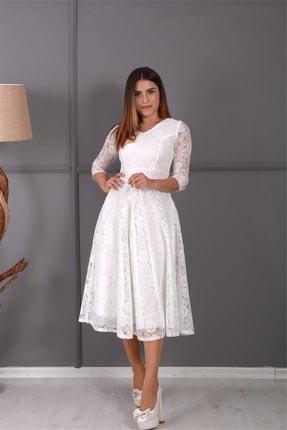 giyimmasalı Full Dantel Midi Elbise - Beyaz 2