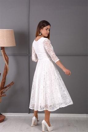 giyimmasalı Full Dantel Midi Elbise - Beyaz 4