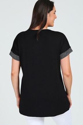 Moda Cazibe Büyük Beden Yaka Simli Kısa Kol Bluz 2