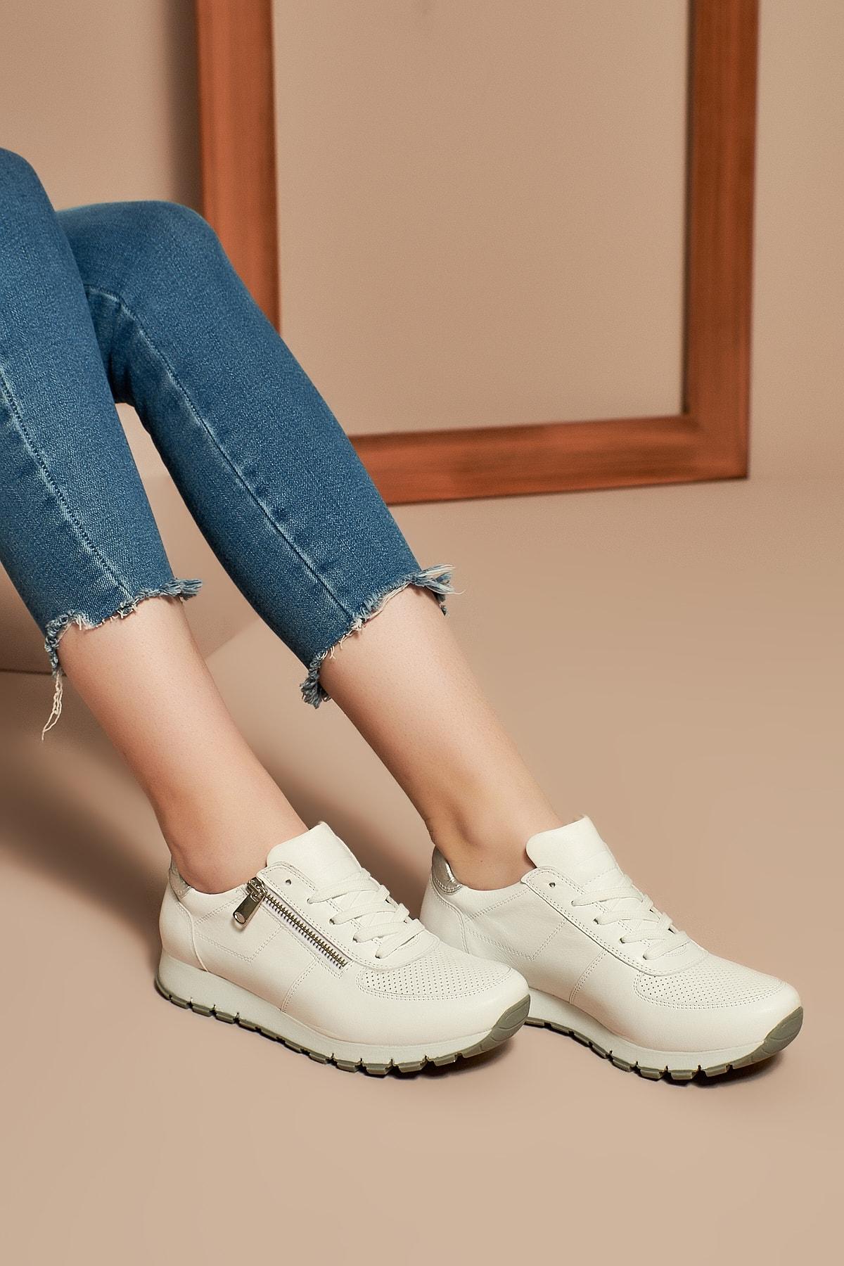 Uniquer Hakiki Deri Beyaz Kadın Ayakkabı 10157U 678 1