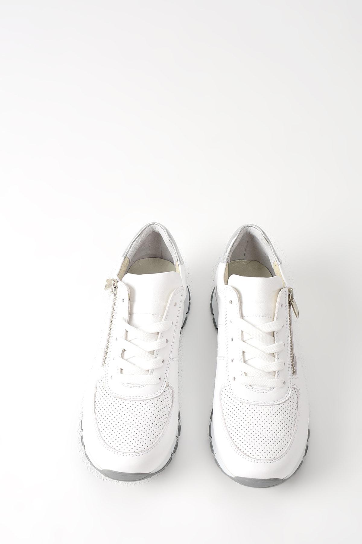 Uniquer Hakiki Deri Beyaz Kadın Ayakkabı 10157U 678 4